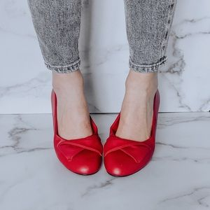 Vintage Candy Apple Red Flats 7